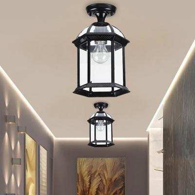 Lantern Balcony Semi Flush Mount Colonial Style Clear Glass 1 Bulb Black/Brass Ceiling Flush, 8