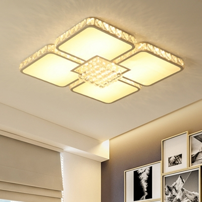 LED Bedroom Flush Ceiling Light Modernity Chrome Flush Mount Fixture with Square Clear Crystal Shade in Warm/White Light