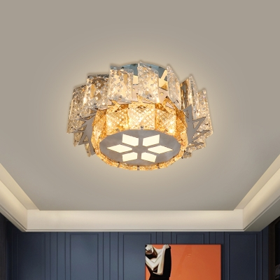 Nickel Floral Flush Light Fixture Modernism Crystal Corridor LED Surface Mount Ceiling Light