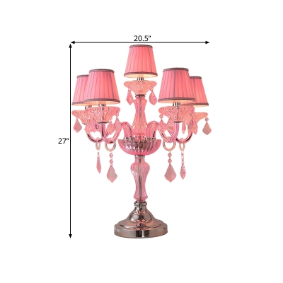 Pink Curved Arm Table Lamp Classic Fabric 5/6/7 Lights Bedside Night Light with Bell Shade