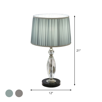 Pleated Fabric Grey/Blue Table Light Drum Shade 1 Light Modernism Crystal Nightstand Lamp