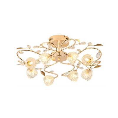 Blossom Semi Mount Lighting Modern Style 8-Head Gold Close to Ceiling Lamp with Branch Design