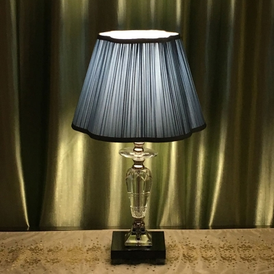 Blue Tapered Night Table Light Traditional Pleated Fabric Single Bedside Crystal-Font Nightstand Lamp