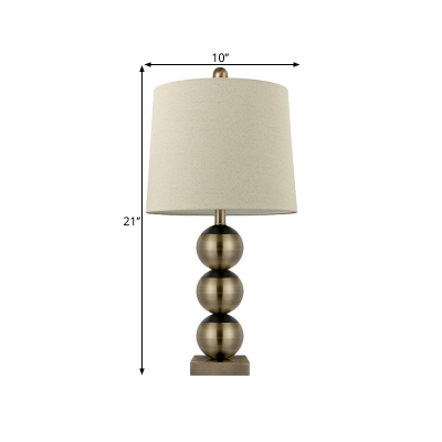 Colonial Barrel Nightstand Lamp LED Fabric Night Table Light in Brass for Bedroom