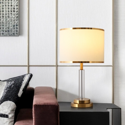 Gold Finish Drum Night Light Traditional Fabric 1 Head Bedside Table Lighting with Crystal Column