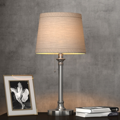 Metal Chrome Table Lamp Barrel LED Colonial Reading Light with Fabric Shade for Bedroom