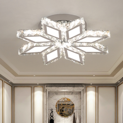 Modern Blossom Flush Mount Light Clear Crystal Living Room LED Ceiling Lighting in Chrome, Warm/White Light