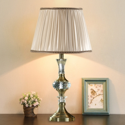 1 Head Fabric Nightstand Lamp Country Beige Drum/Empire Shade Living Room with Crystal Font