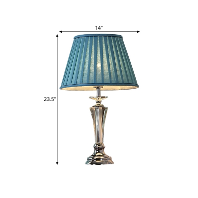 1-Head Night Table Light Classic Bedroom Nightstand Lamp with Conic/Scalloped Fabric Shade in White/Blue