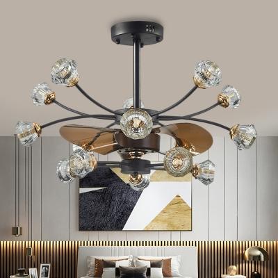 14 Heads Crystal Hanging Fan Light Rural Black Branching Kitchen Semi Mount Lighting with 3 Blades, 31.5