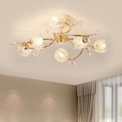 Faceted Crystal Floral Ceiling Fixture Modernism 6 Lights Gold Finish Semi-Flush Mount with Spiral Design