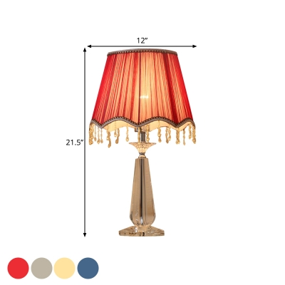 Traditional Scalloped Night Lighting 1-Bulb Fabric Nightstand Lamp in Beige/Red/Blue with Dangling Crystal Detail