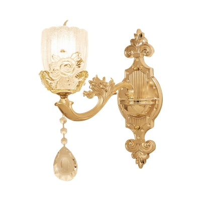 1/2-Head Cloche Shade Wall Lighting Vintage Brass Textured Glass Wall Light Sconce for Living Room