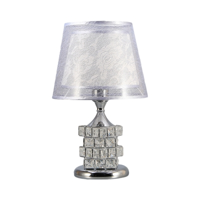 1 Bulb Night Lighting Classic Dual Cone Fabric Nightstand Lamp with Gold/Silver Crystal Cube Base