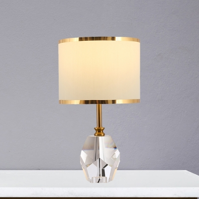 1 Head Geometric Night Lamp Country Clear Crystal Table Lighting with White Drum Fabric Shade