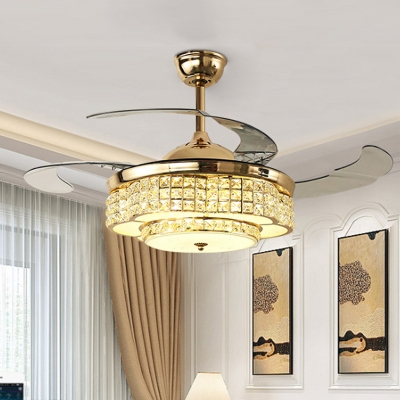 3 Blades Flower LED Ceiling Hang Fixture Contemporary Faceted Crystal Gold Suspension Pendant Light, 42