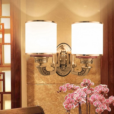 Asia Style Cylindrical Wall Lighting Idea 2 Lights Cream Frosted Glass Wall Mount Lamp in Brass