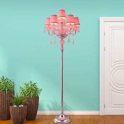 Fabric Pleated Lampshade Reading Floor Lamp Traditional 5/6/7 Lights Living Room Standing Light in Pink