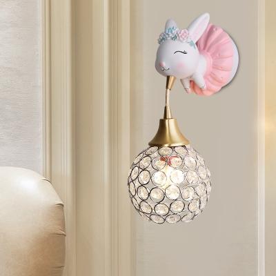 Global Crystal Encrusted Wall Lamp Cartoon 1 Head Pink Wall Mount Light with Elk/Elephant/Rabbit Design