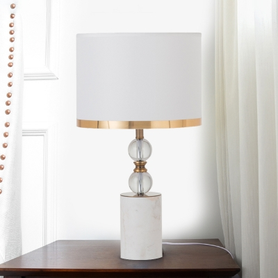 Marble Cylinder Night Table Lighting Country 1 Bulb Bedroom Nightstand Lamp in White with K9 Crystal Ball Deco