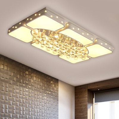 Modern LED Ceiling Fixture White Rectangle Shaped Crystal Ball Flush Mount Light with Acrylic Shade