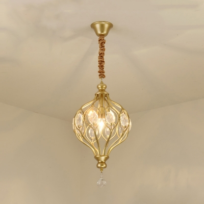 Single Lantern Pendulum Light Traditional Black/Gold Crystal Inserted Ceiling Pendant Lamp for Kitchen