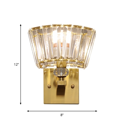 Single Wall Mount Light Postmodern Living Room Sconce with Tapered Crystal Shade in Gold