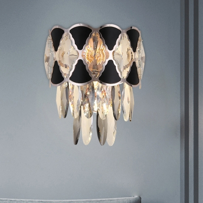 3-Head Tiered Flush Mount Wall Sconce Modernist Black Cut Crystal Wall Mounted Light