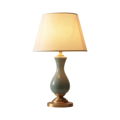Barrel Fabric Night Table Lamp Colonial LED Living Room Reading Light in Green with Brass Base