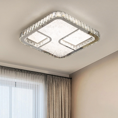 Beveled Crystal Square Flush Mount Lamp Minimalist LED Chrome Ceiling Light Fixture in Warm/White Light