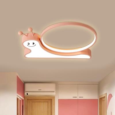 Cartoon Snail Flush Light Fixture Acrylic LED Kids Bedroom Flush Mount Lamp in Pink/Blue, White/Warm Light