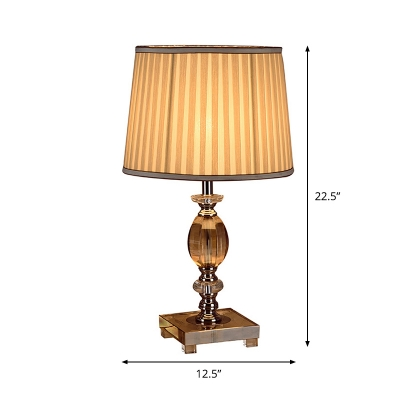 Clear Crystal Font Nightstand Lamp Traditional 1-Bulb Study Room Desk Light with Drum Pleated Fabric Shade in Beige