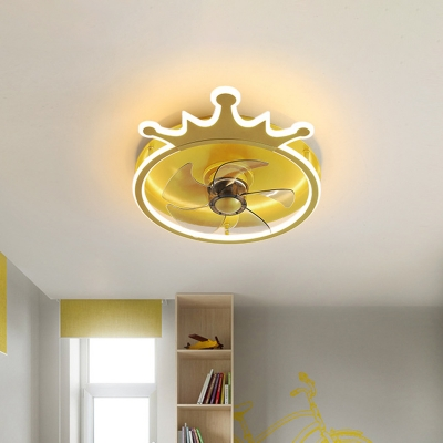 Crown Kids Bedroom 5-Blade Semi Flush Metallic LED Cartoon Hanging Fan Lamp Fixture in Gold, 16