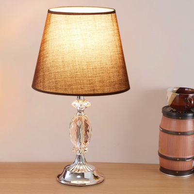 1-Bulb Fabric Table Lighting Countryside Flaxen/Red/Coffee Conical Bedroom Night Stand Lamp with Urn Base