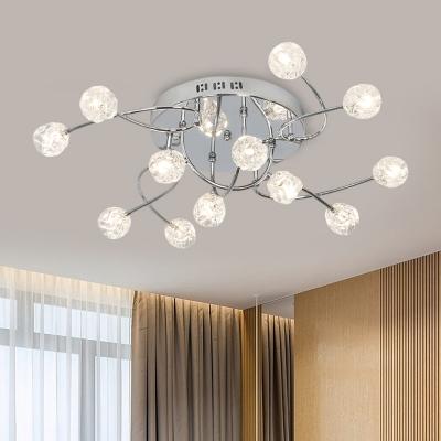 Beveled Crystal Ball Ceiling Light Fixture Minimal Style 12/16/20 Bulbs Chrome Semi Flush with Curved Arm