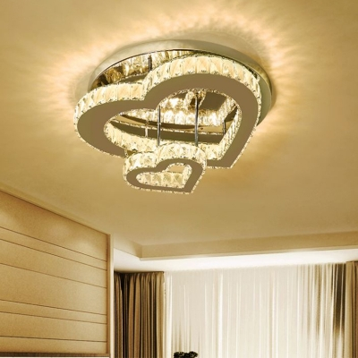 Beveled Crystal Loving Heart Flush Mount Simplicity LED Close to Ceiling Lamp in Chrome, Warm/White Light