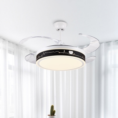 Black and White Round Pendant Fan Light Modernist LED Metal Semi Mount Lighting with 4 Clear Blades, 19
