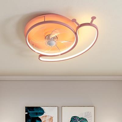 Metallic Snail 5-Blade Semi Mount Lighting Kids LED Pink Hanging Fan Light Fixture, 18