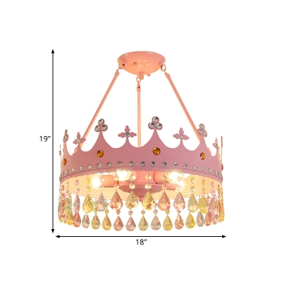 Pink Crown Semi Flush Mount Chandelier Macaron Crystal Teardrops 3/5-Bulb Girls Room Ceiling Light, 12