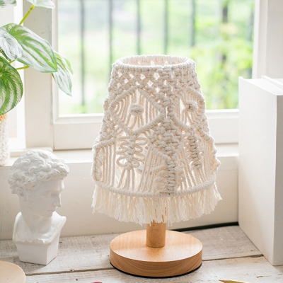 Round Base Night Light Minimalism Wood 1-Head White Desk Lamp with Cone Woven Shade