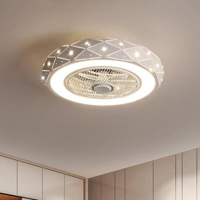 Round Semi Flushmount Lighting Modernism Metal White/Black/Pink Finish LED Ceiling Fan Light, 21.5