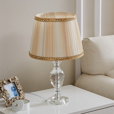 1-Head Table Lighting Traditional Tapered Drum Fabric Night Lamp in Yellow/Blue with Urn Crystal Base
