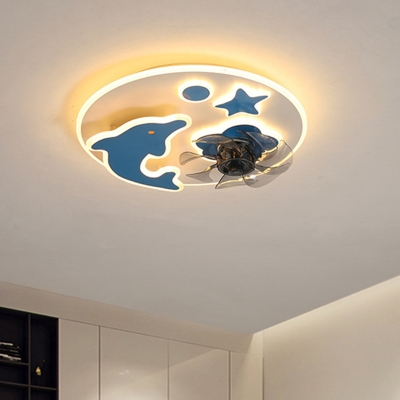 Blue/Pink Dolphin and Star Hanging Fan Light Cartoon 19.5