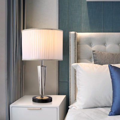 Drum Bedroom Night Lamp Country Pleated Fabric 1-Bulb White Nightstand Light with Crystal Base
