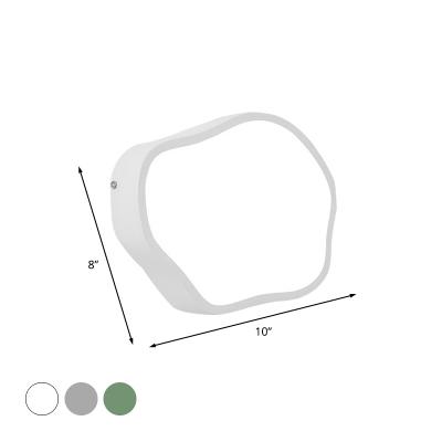 Geometric Acrylic Flush Wall Sconce Macaron White/Grey/Green Finish LED Wall Mounted Light Fixture