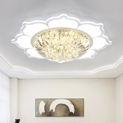 Modern LED Flush Light White Lotus Close to Ceiling Lighting with Clear Crystal Shade in Warm/White Light