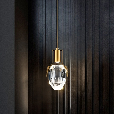 Oval Bedside Pendant Light Fixture Simple Beveled Crystal Clear LED Hanging Lamp