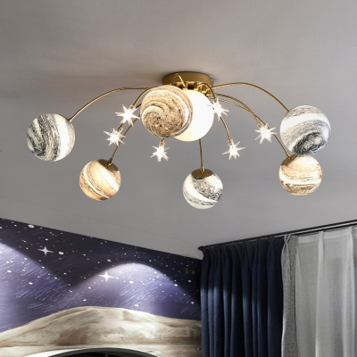 Planet Frosted Glass Semi Flush Nordic LED Gold Ceiling Mounted Light for Kids Room
