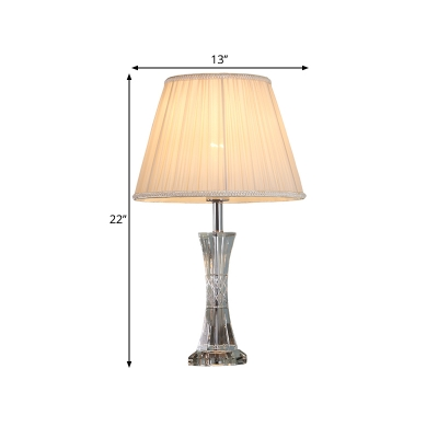 Pleated Lampshade Fabric Night Table Light Country Style 1 Head Bedroom Crystal Nightstand Lighting in Beige