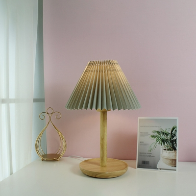 Pleated Paper Cone Nightstand Lamp Contemporary 1 Bulb Grey/Dark Grey/White Table Light with Wood Column and Base
